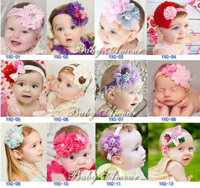 10pcs/lot Cute Baby flower headbands infant cotton hair band Baby flower head scarf Baby headwear.(China (Mainland))