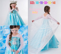 1PCS new 2014 Frozen Elsa Anna costume princess dress sequined luxury party dresses Free shipping girls dresses.