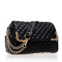 2014 New Black PU Women Leather Handbag Plaid Bag Chain Fashion Brand Shoulder Bag Luxury Solid Women's Messenger Bags Ladies