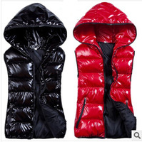 New autumn winter 2014 women casual fashion glossy women hooded down jacket vest cotton sleeveless jacket vest women clothing