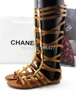 Free Shipping Wholesale 2014 Women's Fashion Rhinestones Ribbed Straps Legging High Gladiator Flat Sandals