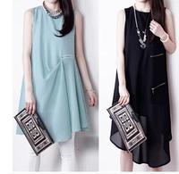 2014 New Brand women summer loose dress tank chiffon dresses keen- length sweet girl fashion iregular dress