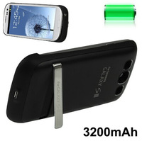 3200mAh Portable Power Bank External Battery with Holder for Samsung Galaxy S III / i9300  black/white