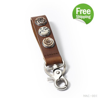 New Arrival Free Shipping For Women mens gifts Retail fit 18mm snap buttons jewelry key chain ring genuine leather keychain