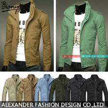 2014 mens jackets 100% cotton outwear men's coats casual fit style designer fashion jacket 8 colors Size M~XXXL A12(China (Mainland))