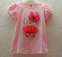 Wholesale girl b2w2 t shirt lovely Kitty flower pink with hot pink T-shirt baby cotton clothes free shipping 5pcs/lot W-02