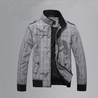 New 2014 Slim Fit Stand Collar Epaulet Zipper Thin Plaid Casual Mens Jacket Fashion Man Outerwear