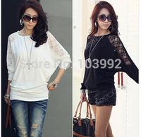 Plus size XXXL Women Ladies Loose Batwing Dolman Lace Long Sleeve Casual Top T Shirt M -XXXL