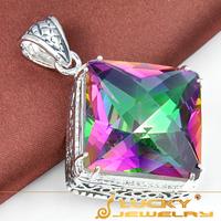 SALE Huge Vintage Style Jewelry Pendant Rainbow Fire Mystical Topaz  Silver Pendant for Women Pendants P0040