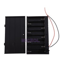 NI5L Black Battery Holder Case Box Base Socket with Wires for 8x AA Batteries