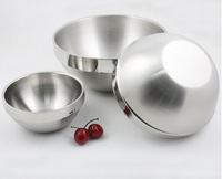 Home kitchen ware bouble walls stailess steel food bowls fruit bowls salad bowls 3pcs/set