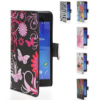 custom Flip cover card slot stand Butterfly Flower US UK flag Design Leather print wallet case For sony xperia z2 l50w free dhl