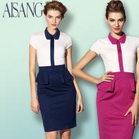 patchwork 2014 short-sleeve OL outfit slim elegant ruffle one-piece dress free shipping Hot brand vintage ol dress formal