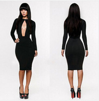 2014 new foreign trade wholesale chest is sexy black night dressCultivate one's morality bandage dress, fashion hollow out dress