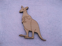 Australia Kangaroo with a baby kids unique shape designs wood brooches pin