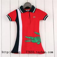 Retail summer brand girls short sleeve mini dress short sleeve cotton stitching design children's clothing
