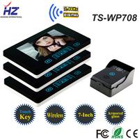 "Touch button 7"" wireless color video intercom system TS-WP708 tamper alarm intercom system 1V3 / night vision, rainproof"