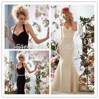 2014 Mermaid Halter Sleeveless Chapel Train Ivory Black Lace Beaded Modest Elegant Wedding Dresses Bridal Gown