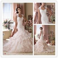 Luxury Cap Sleeves See Through Wedding Dresses Ruffled Organza Mermaid Bridal Gowns 2014 New Fashion