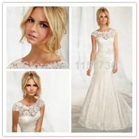 2014 Mermaid Scoop Cap Sleeves Court Train White Lace Sash Backless Elegant Wedding Dresses Bridal Gown