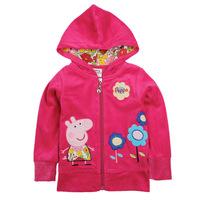New 2014 winter peppa pig brand cartoon baby girls hoodies outerwear pepe pig kids coats children sweatshirts/retail