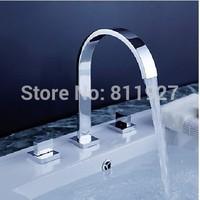 "high quality 4"" minispread three hole 3 pcs set double handle basin faucet water tap mixer torneiras chuveiro cozinha banheiro"