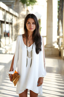 New Fashion White chiffon women's summer dress,cute style loose A-Line beach dress with full sleeve