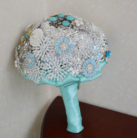 EMS free shipping Wedding flower luxury blue bride brooch bead holding flowers