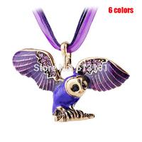 NEW 2014 Autumn Winter Fashion Design Women Jewelry Vintage Enamel Rhinestone Owl Pendant Necklace With Ribbon Rope Chain
