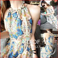 New arrival 2014 vintage print bohemia full dress summer chiffon sleeveless one-piece dress beach dress