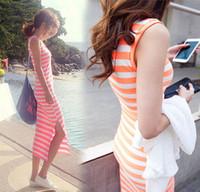 Summer stripe plus size basic  one-piece dress bohemia spaghetti strap vest beach dress full dress female