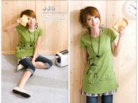 Women's short-sleeve t-shirt windmill cotton short-sleeve medium-long basic top