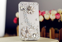 2014 New Luxury Camellia Flower Rhinestone Crystal Diamond for Iphone 4 4s 5 5s Galaxy S3 S4 Note 2 3 Phone Accessories A100