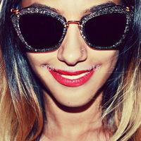 new 2014 fashion eyewear gradient  black acetate frame retro round women sunglasses /sunglasses brand designer
