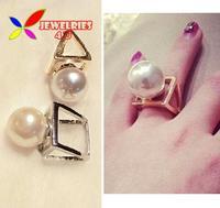 2014 fashionable Punk gold silver alloy Triangle Cube Big faux Pearl Designer finger ring for women bagues ensemble bijoux