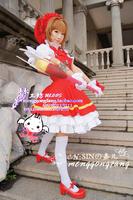 Cardcaptor Sakura kinomoto sakura cosplay costume Magical girl  lolita punk dress +hat+ wings costume set