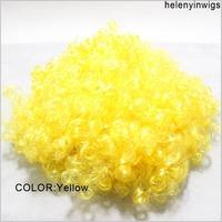 Afro Clown Costume Football Fan Fancy festival wig Halloween Party Wig wild-curl up yellow