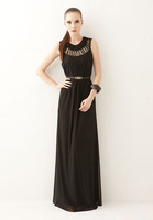 Free shipping 2014 New 100% fashion European style chiffon sleeveless O-neck  Hollw out Beach Ankle-length Long Dress