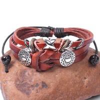 2014 New Tibetan Wrap brown Genuine Leather bracelet serpentine woven Bracelets & Bangles multilayer Men Jewelry Wholesale 2020