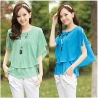 2014 summer plus size clothing o-neck loose batwing sleeve top t-shirt female chiffon ruffle shirt