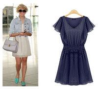 Free Shipping 2014 Europe Women's Polka Dots Dresses V Neck Ruffles Short Sleeve Casual Dress Lady's Slim Waist Chiffon Dress