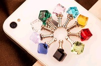 Free shipping  20pcs Alloy diamond ball dustproof plug water cube Dust Plugs dust stopper for 3.5mm plug mixed colors