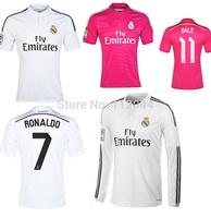 TOP Thailand  Quality A+++  Real Madrid 2014- 15   RONALDO   BALE   RAMOS  Soccer  Jersey  Footabll Shirt Free shipping