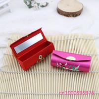 Free shipping!!!lots 12pcs computer Chinese handmade silk embroidered lipstick box