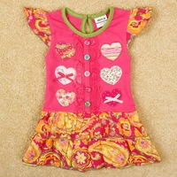FREE SHIPPING H4073# 18m/6y  2014 hot new fashion Nova baby girls clothing with floral cotton and bow long sleeve girl dress