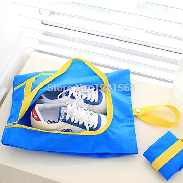 Free Shipping Home travel outdoor shoes storage bag nylon shoe bag folding shoe box sport shoes bag(China (Mainland))
