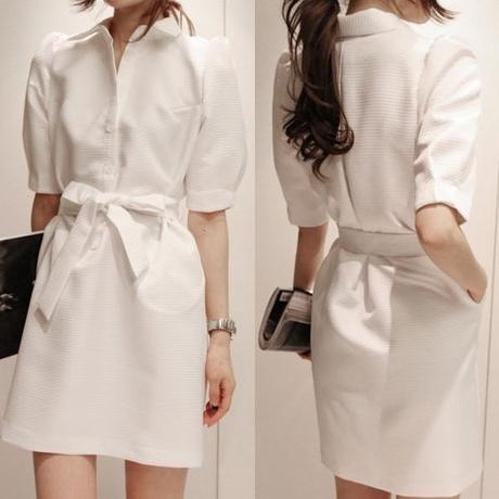 New 2014 women summer dress fashion women button shirt dress lantern sleeve lapel white dress casual business dress clothes(China (Mainland))