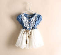 New 2014 Girl Clothing Summer Denim Dress for Girls Brand Kids Girl Jeans Tutu Dress Cute Beautiful Top Quality Children Dresses