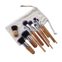 10sets/lot  11 pcs Nylon synthetic hair natural bamboo handle professional makeup Brushes set,maquiagem pinceis,cosmetics