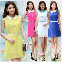 2014 spring and summer new Korean candy colored doll collar chiffon A-line knee length dress summer sleeveless vest skirt women